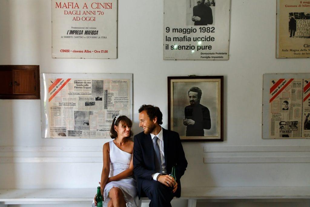 ritratto di coppia sposi del matrimonio in sicilia
