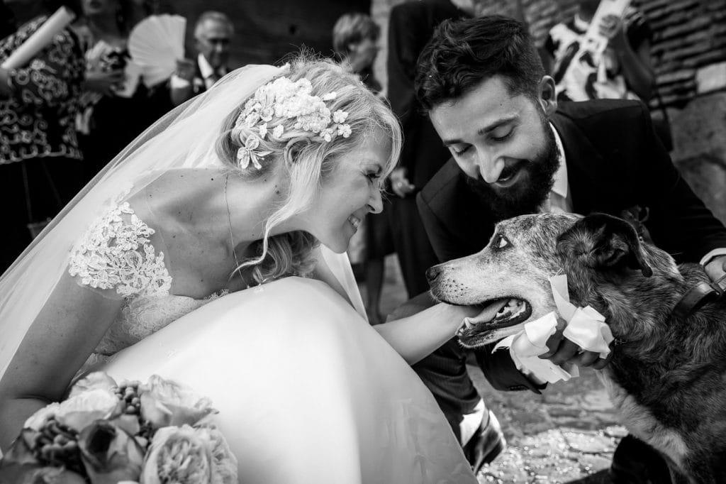 gli sposi con il loro cane dopo la cerimonia