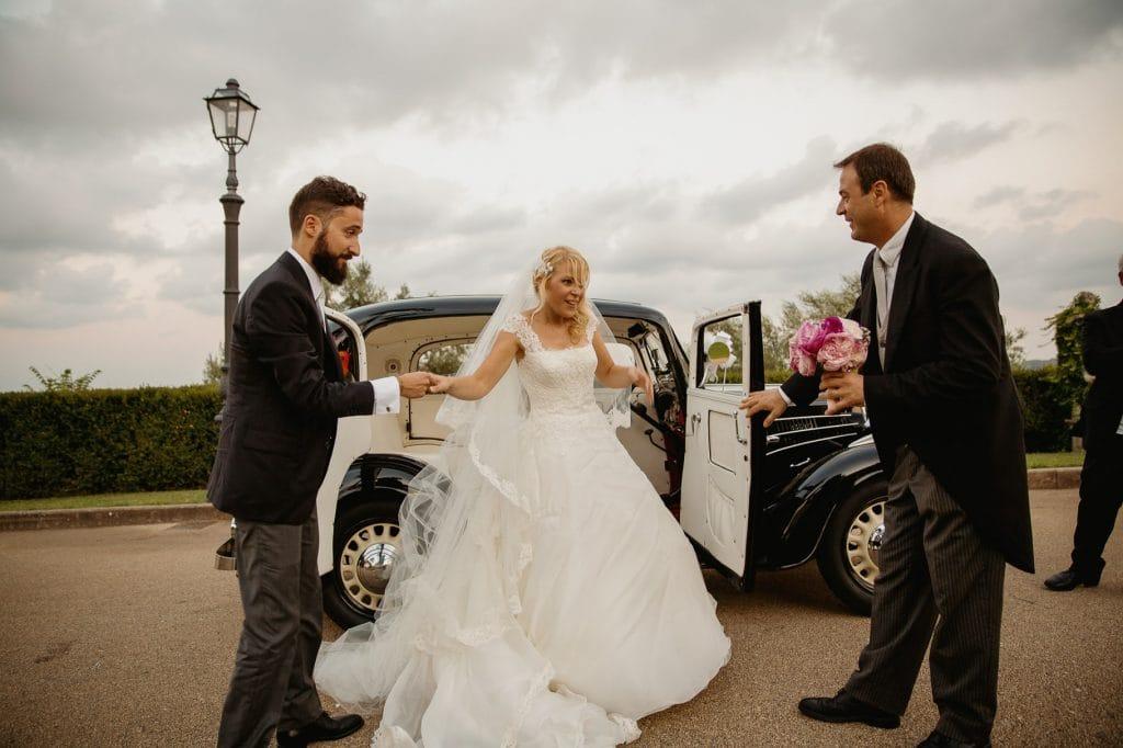 fotografo matrimonio villa miani arrivo degli sposi a villa miani