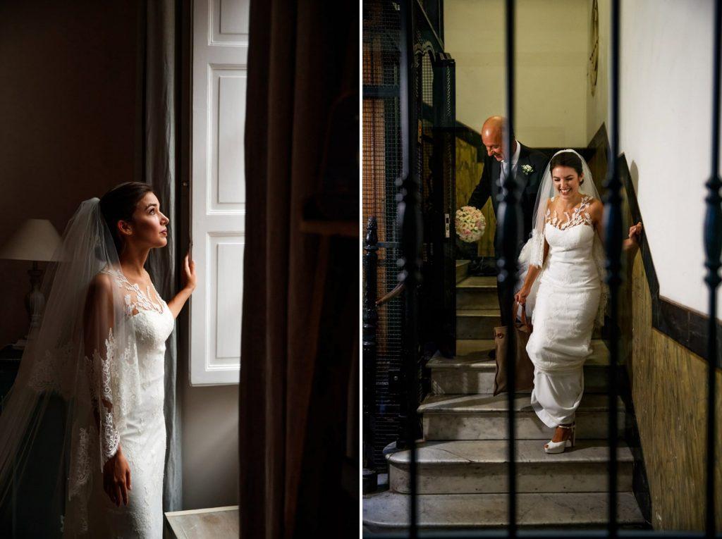 la sposa esce di casa con il papˆ matrimonio a villa miani