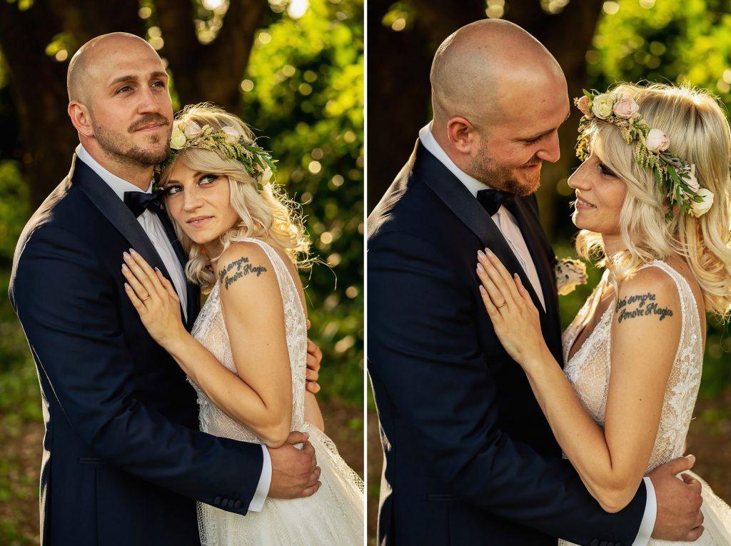 ritratti degli sposi del matrimonio allÕaperto a villa rosantica