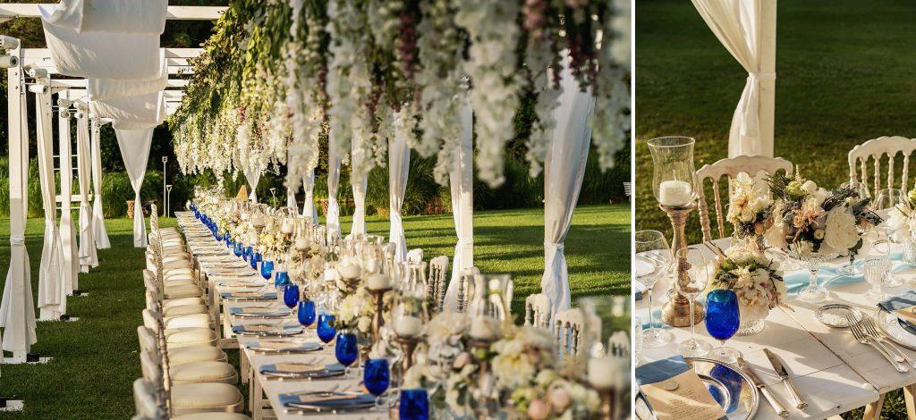 allestimenti dei tavoli del matrimonio allÕaperto a villa rosantica