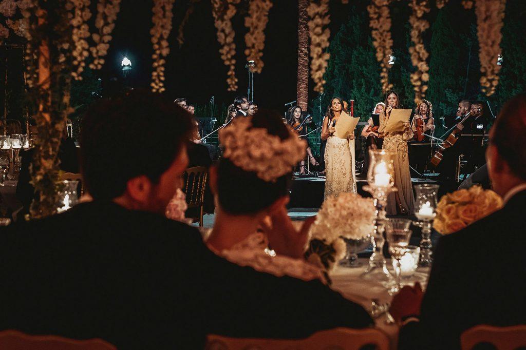 discorso della testimone durante il ricevimento del matrimonio italo-spagnolo a Villa Miani